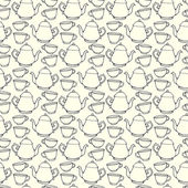 Seamless pattern with decorative cups and teapots — Stock vektor