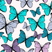 Seamless pattern with bright colorful butterflies isolated on wh — Stockvektor