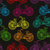 Seamless pattern with outline colorful rainbow vintage bicycles — Stock Vector