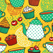 Tea and muffins sweet seamless pattern — Stock Vector