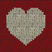 Seamless pattern with knitted heart — Stock Photo