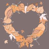 Heart shaped wreath made of autumn leaves illustration — Stockvektor
