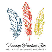 Vintage feather set isolated on white background — Stock Vector