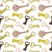 无缝模式与复古钥匙 — 图库矢量图片