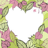 Srdce tvarovaný rám z podzimní listy. romantický karta — Stock vektor