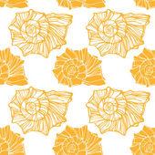 Seamless pattern with decorative seashells — Stock Vector