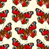 Seamless pattern with hand drawn peacock butterflies — Vettoriale Stock