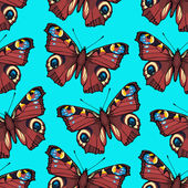 Seamless pattern with hand drawn peacock butterflies — Stock Vector