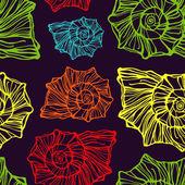 Seamless pattern with decorative seashells — Stockvektor