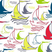 Seamless pattern with sailing ships on waves — Stock Vector