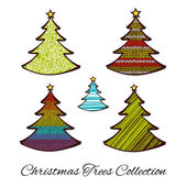 Set of Christmas trees isolated on white background — Stock Vector