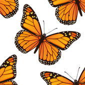 Seamless pattern with monarch butterflies — Vettoriale Stock