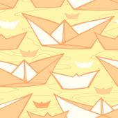 бесшовный фон с бумажной shipsd — Cтоковый вектор