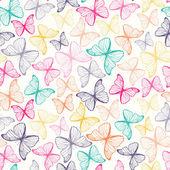 Nahtlose Muster mit bunten Hand gezeichnet Gliederung Schmetterlinge — Stockvektor