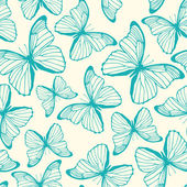 Seamless pattern with hand drawn outline butterflies — Stock Vector
