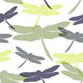 Seamless pattern with hand drawn silhouette dragonflies. Spring — Stock Vector
