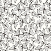 Seamless pattern with hand drawn outline butterflies — Vector de stock