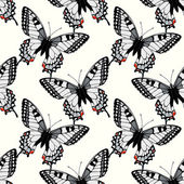 Seamless pattern with machaon swallowtail butterflies — Stock Vector