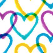 Patrones sin fisuras con corazones de acuarela — Vector de stock