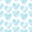 Seamless pattern with bright hand drawn grunge textured hearts — Stock Vector