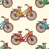 Nahtlose muster mit bunten hand gezeichnet vintage fahrräder — Stockvektor
