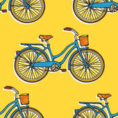Seamless pattern with colorful hand drawn vintage bicycles — Stock vektor