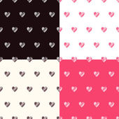 Seamless pattern with textured hearts set — Stock Vector