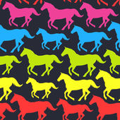 Seamless pattern with hand drawn silhouette rainbow horses. — Vector de stock