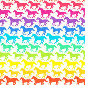 Seamless pattern with hand drawn silhouette rainbow horses. — Stock Vector