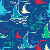 Seamless pattern with decorative retro sailing ships on waves — Stockvector