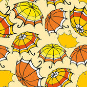 Seamless pattern with hand drawn decorative colorful umbrellas — Vector de stock