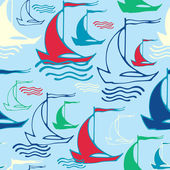 Seamless pattern with decorative retro sailing ships on waves. V — Stock Vector