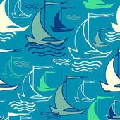 Seamless pattern with decorative retro sailing ships on waves. V — Vector de stock