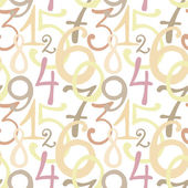 Seamless pattern with hand drawn painted numbers — Stock Vector