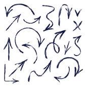 Set of hand drawn arrows. Vector illustration — Stock Vector