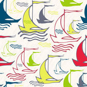 Seamless pattern with vintage decorative sailing ships on waves — Stock Vector