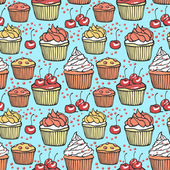Seamless pattern with muffins and cherries — Stock Vector