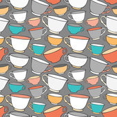 Seamless pattern with decorative cups — Stock Vector
