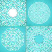 Set of 4 round kaleidoscopic lace ornamental backgrounds — Stock Vector