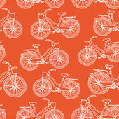 Seamless pattern with hand drawn vintage bicycles — Stockvektor