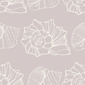 Seamless pattern with decorative shells — Stock Vector