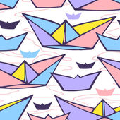 Seamless pattern with paper ships — Stock Vector