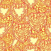 Seamless pattern with doodle hearts — Vector de stock
