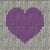 Seamless pattern with knitted heart — Stock Vector
