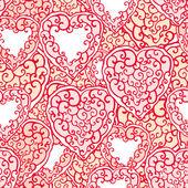 Patrones sin fisuras con corazones doodle — Vector de stock