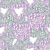 Seamless pattern with doodle hearts — Cтоковый вектор