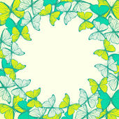 Round frame with decorative butterflies — Cтоковый вектор