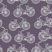 Seamless pattern with outline vintage bicycles — Cтоковый вектор