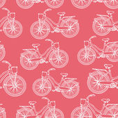 Seamless pattern with outline vintage bicycles — Vetor de Stock