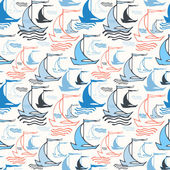 Seamless nautical pattern with sailing boats — Stock Vector